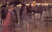 Passants à Paris un soir de pluie